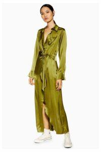 Womens **Wrap Silk Shirt Dress By Boutique - Khaki, Khaki