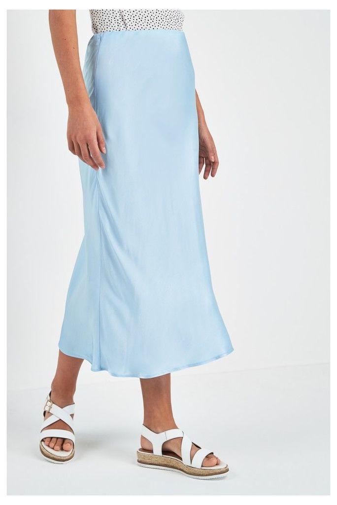 Womens Next Blue Satin Midi Skirt -  Blue