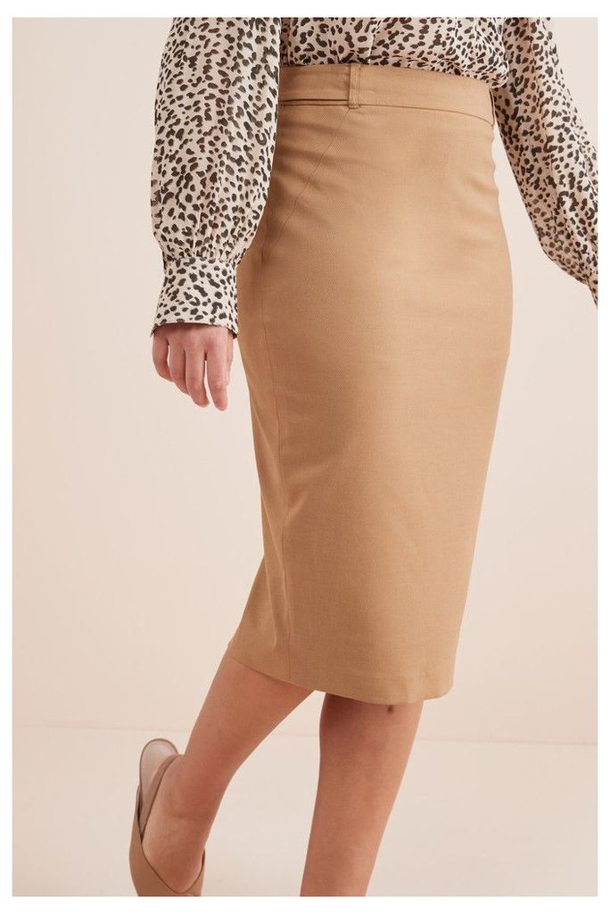 Womens Next Camel Tailored Fit Pencil Skirt -  Natural