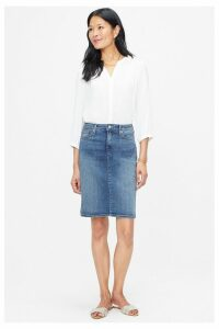 Womens NYDJ Mid Denim Skirt -  Blue