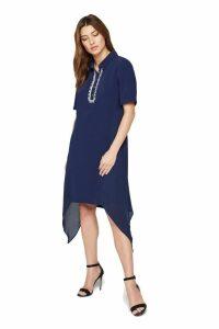 Womens Damsel In A Dress Blue Rosanna Embellished Tunic Shirt Dress -  Blue