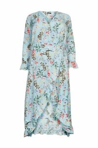 Womens Boohoo Plus Floral Wrap Frill Dress -  Blue