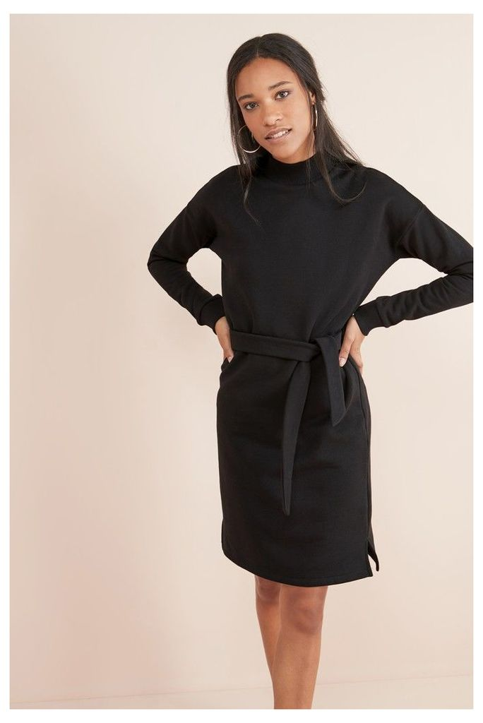 Womens Next Black Funnel Neck Jersey Dress -  Black