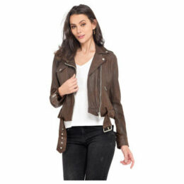 Oakwood  Leather jacket zipped pockets on the front long sleeves  women's Leather jacket in Brown