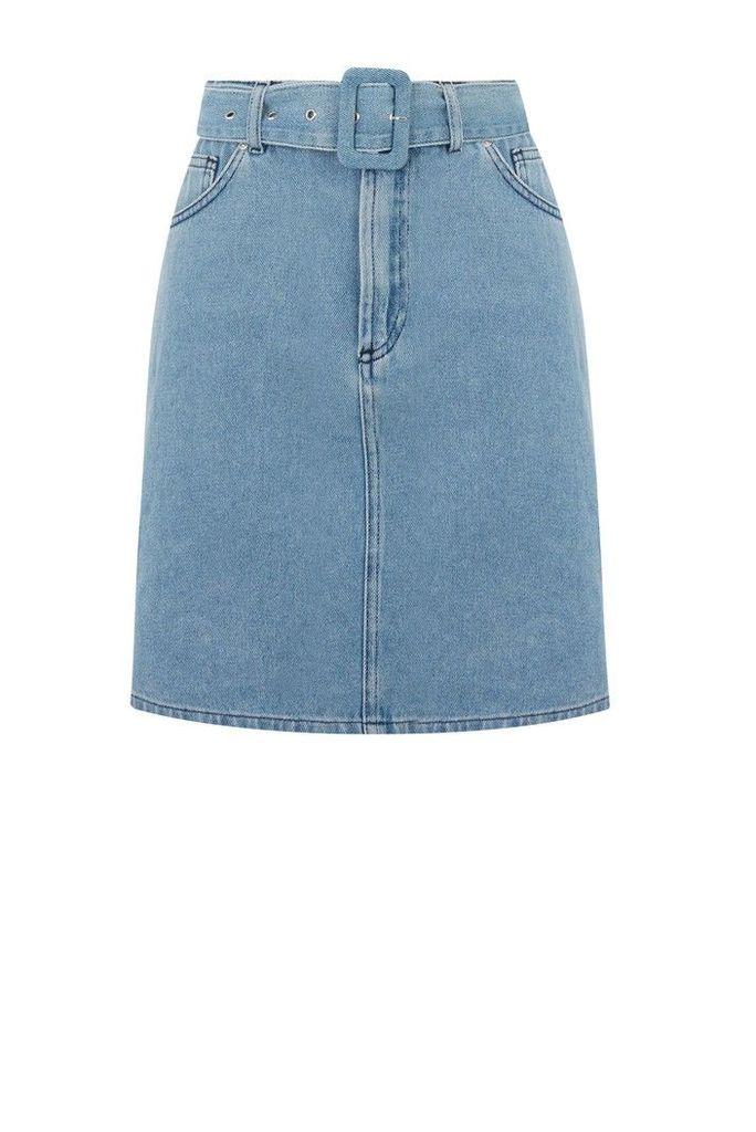 Womens Warehouse Blue Self Buckle Denim Skirt -  Blue