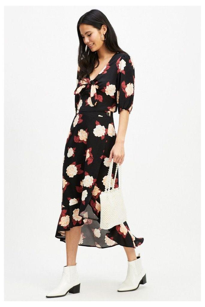 Womens Miss Selfridge Frill Midi Skirt -  Black