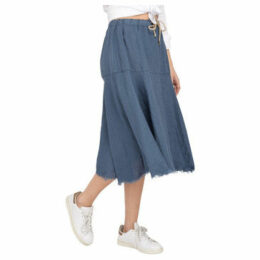 Lauren Vidal  Linen skirt with fringed finish  women's Skirt in Blue