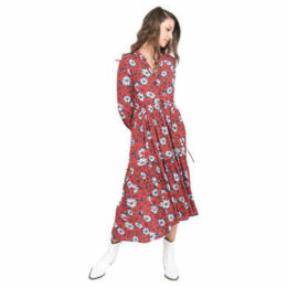 Lauren Vidal  Long dress with daisies print  women's Long Dress in Red