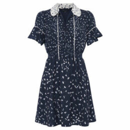 French Connection  Printed V-neck dress Short sleeves  women's Dress in Blue