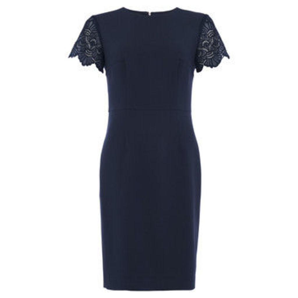 French Connection  V-neck dress Short sleeves  women's Dress in Blue