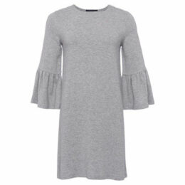 French Connection  3/4 Sleeve Round Neck Dress  women's Dress in Grey