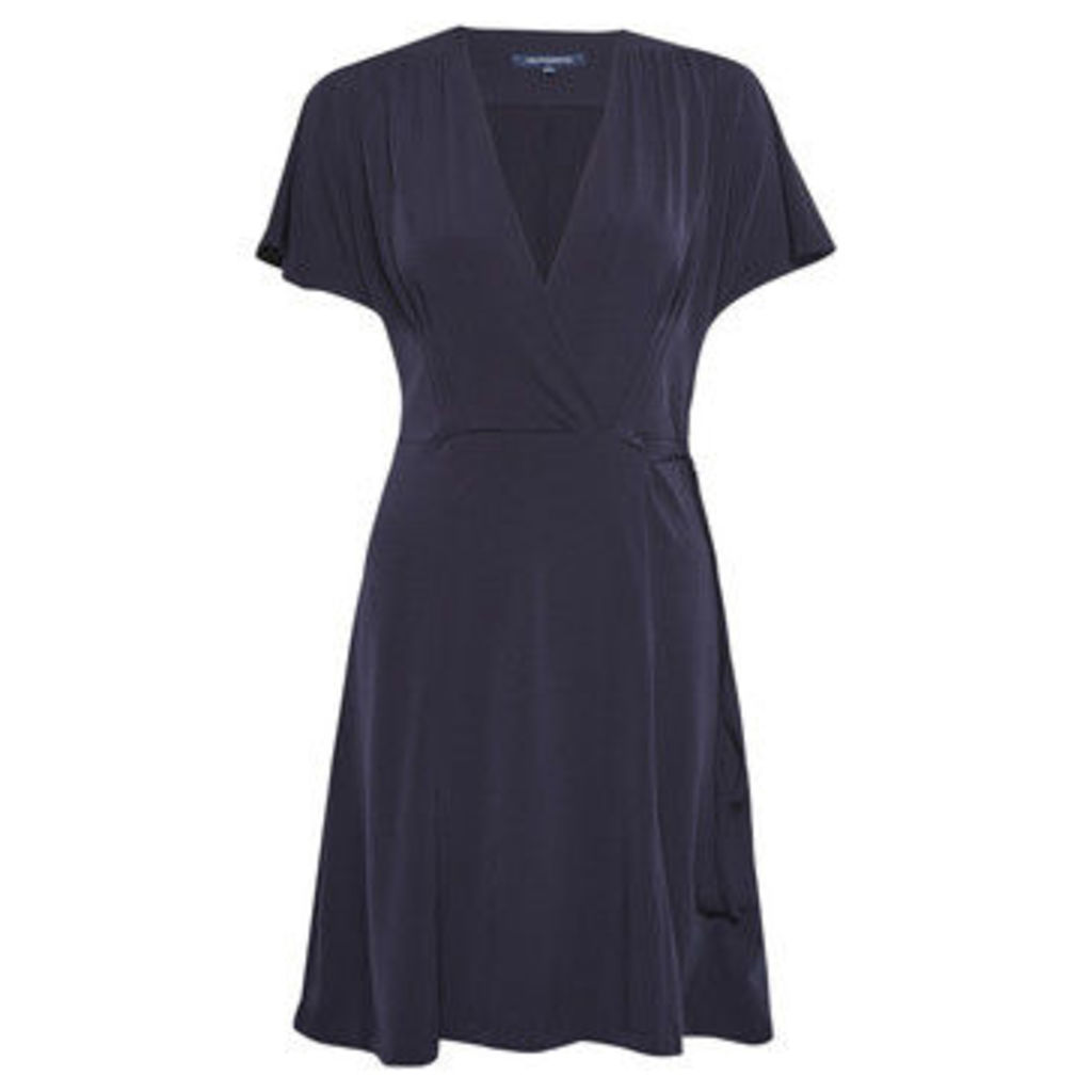French Connection  V-neck dress with short sleeves  women's Dress in Blue