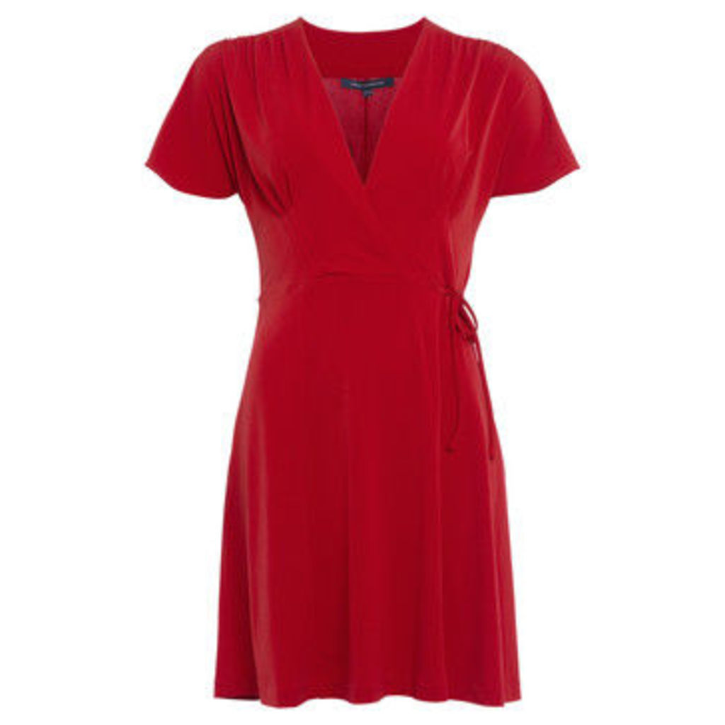 French Connection  V-neck dress with short sleeves  women's Dress in Red