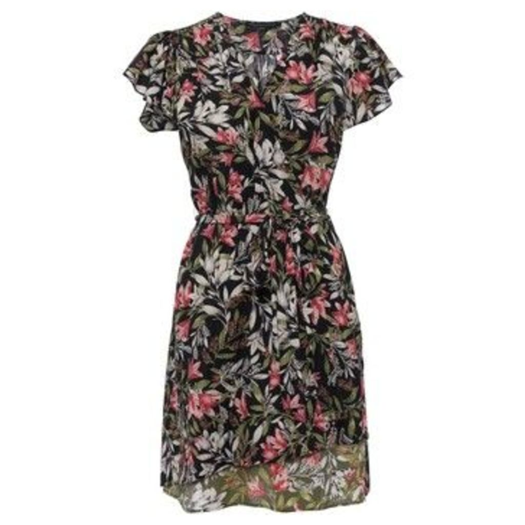French Connection  Floral print heart print dress  women's Dress in Black