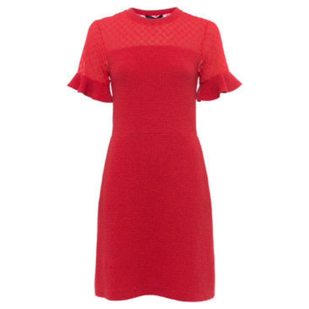 French Connection  Slim fit dress with embroidery  women's Dress in Red