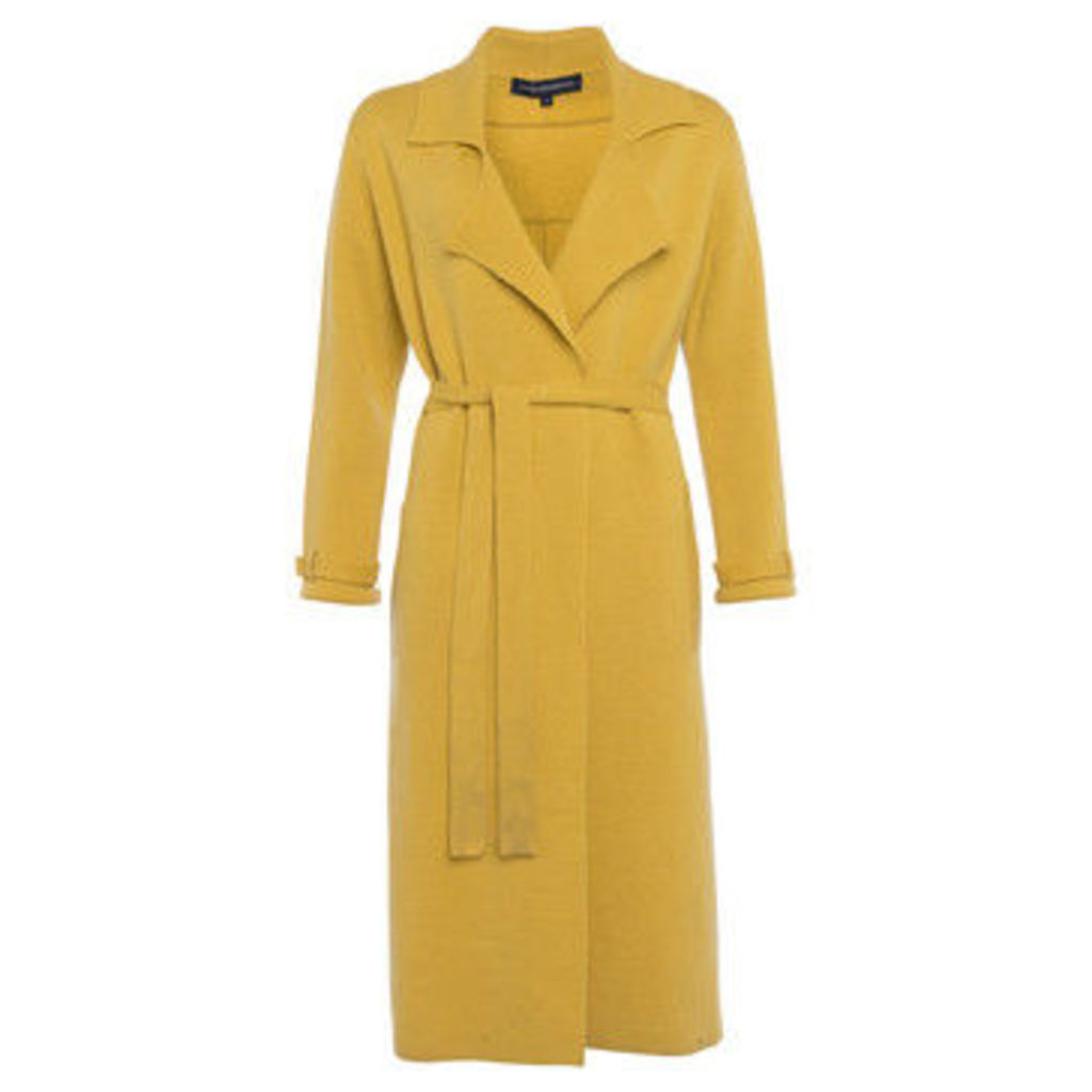 French Connection  Long sleeves plain jacket  women's Trench Coat in Yellow