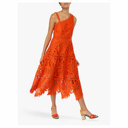 Monsoon Maria Palm Lace Dress, Orange