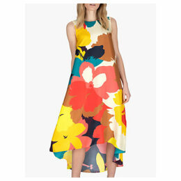 Jaeger High Low Silk Bright Floral Dress, Multi