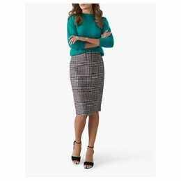 Pure Collection Wool Pencil Skirt, Black/White Check