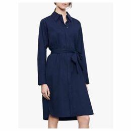 Winser London Cotton Poplin Shirt Dress, Midnight Blue