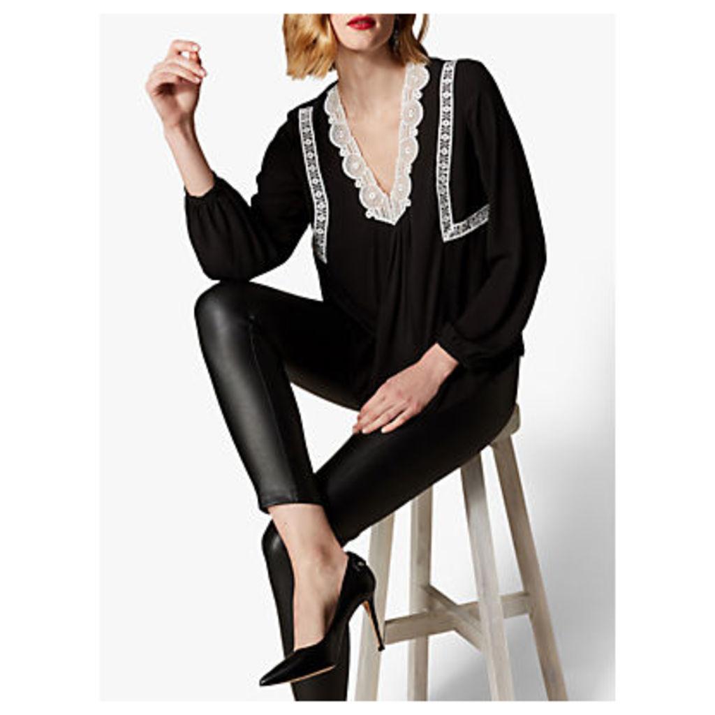 Karen Millen Embroidered Blouse, Black/White