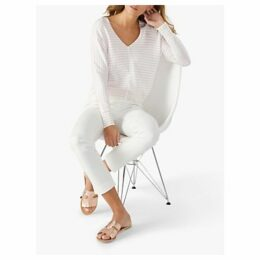 Pure Collection Dolman Sleeve Cotton Sweater, Optic White/Oyster