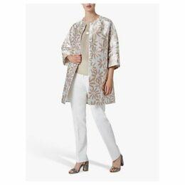 Helen McAlinden Jackie Floral Jacquard Coat, White/Multi