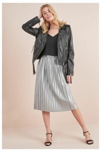 Womens Next Silver Metallic Pleated Skirt -  Metallic