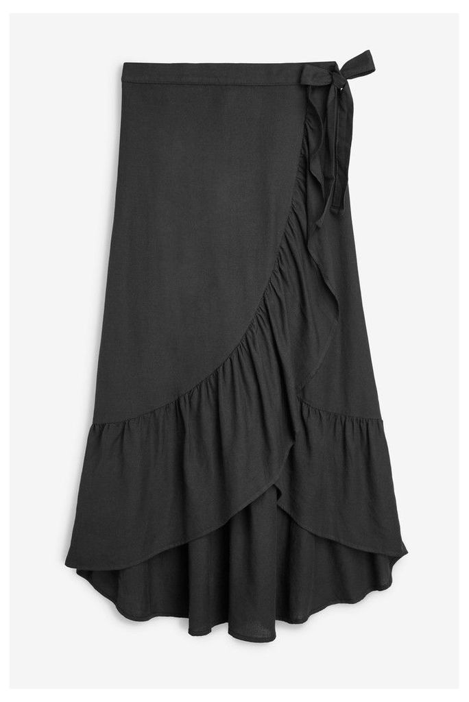 Womens Next Black Wrap Skirt -  Black