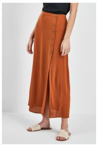 Womens Next Rust Button Midi Skirt -  Brown