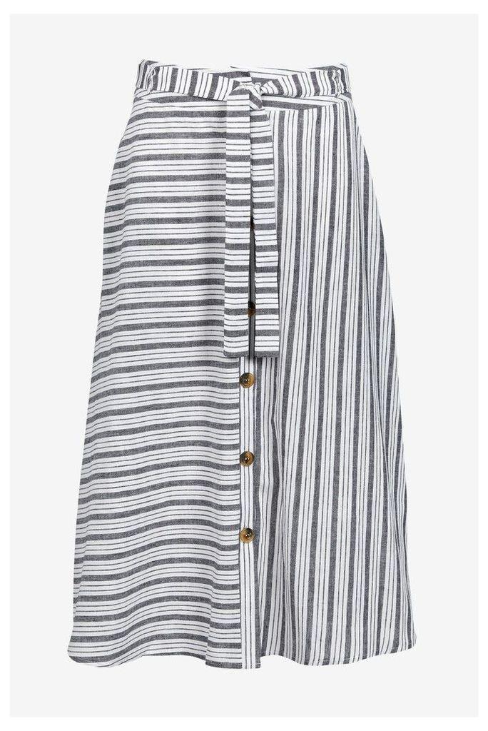 Womens Next Blue Stripe Button Through Skirt -  Blue