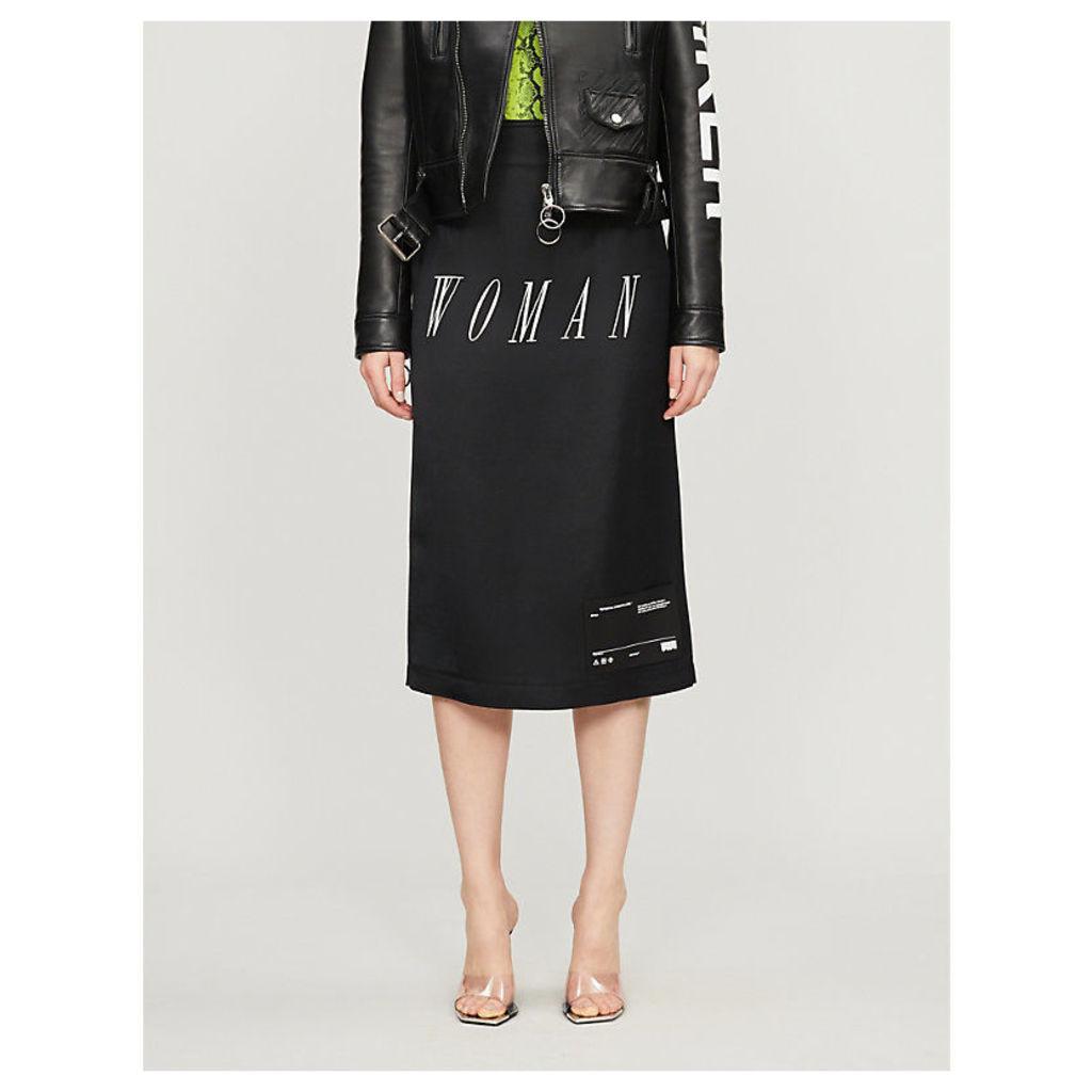 Slogan-print woven pencil skirt