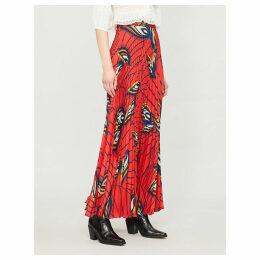 Lena feather-print crepe midi skirt