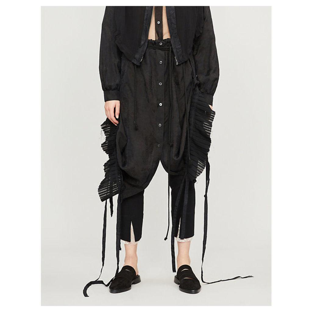 High-waist pleated-panel crepe midi skirt