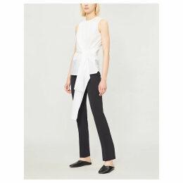 Alicia tie-waist cotton blouse