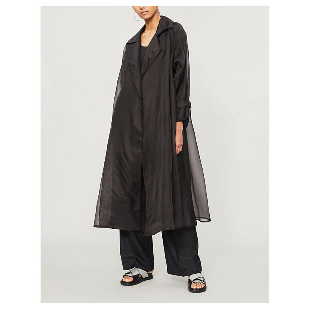 Semi sheer silk organza coat