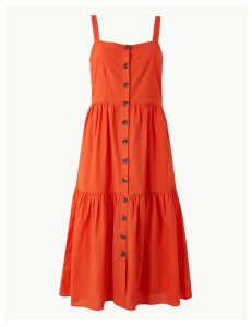 M&S Collection Pure Cotton Button Detailed Slip Midi Dress