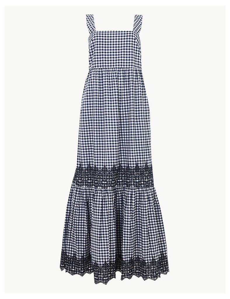 M&S Collection Pure Cotton Gingham Maxi Slip Dress