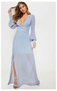 Blue Dobby Mesh Plunge Long Sleeve Maxi Dress, Blue
