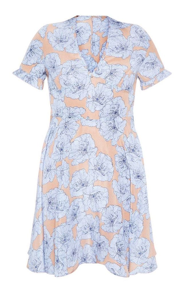 Beige Floral Print Button Tea Dress, Camel