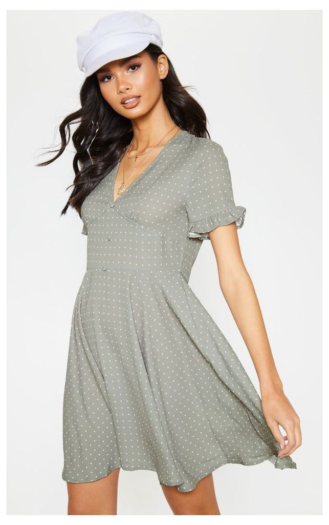 Sage Green Crinkle Polka Dot Button Tea Dress, Sage Green