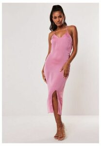 Pink Satin Cross Back Midi Dress, Pink