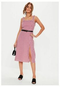 Red Gingham Ruched Midi Dress, Red