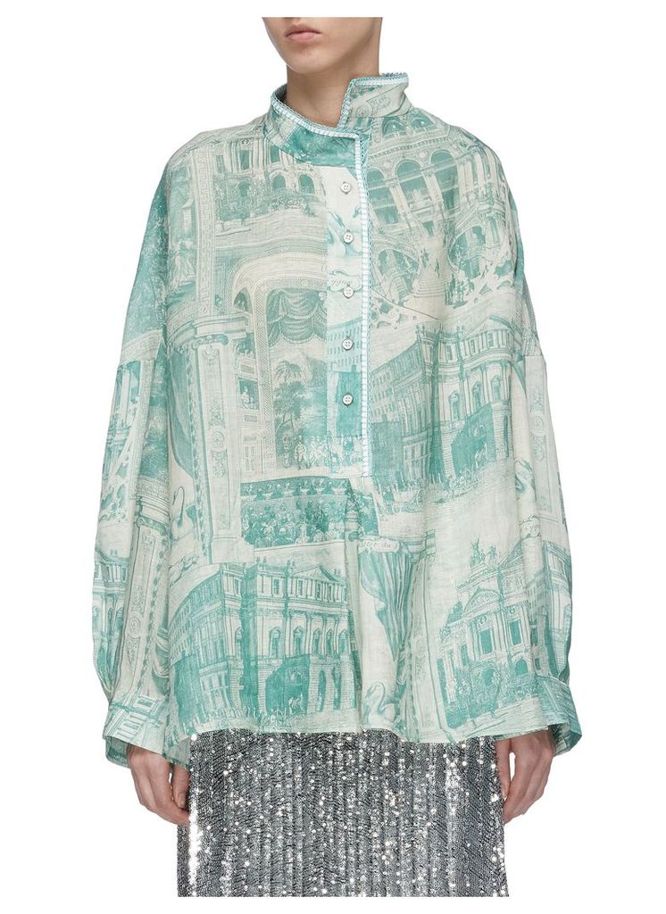 Theatre print mock neck oversized linen shirt