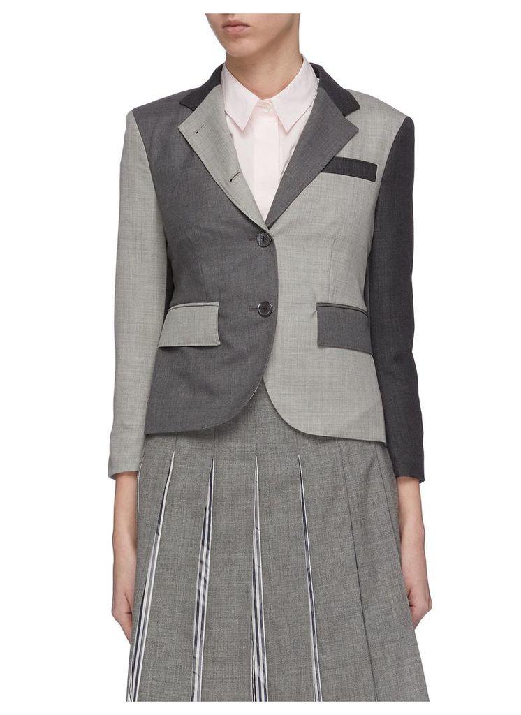 Colourblock panelled twill sport blazer