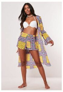 Yellow Paisley Print Co Ord Duster Jacket, Yellow