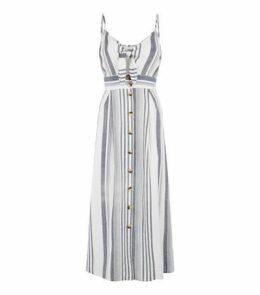 Blue Vanilla Blue Stripe Linen Look Midaxi Dress New Look
