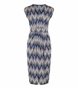 Blue Vanilla Navy Zig Zag Textured Midi Dress New Look