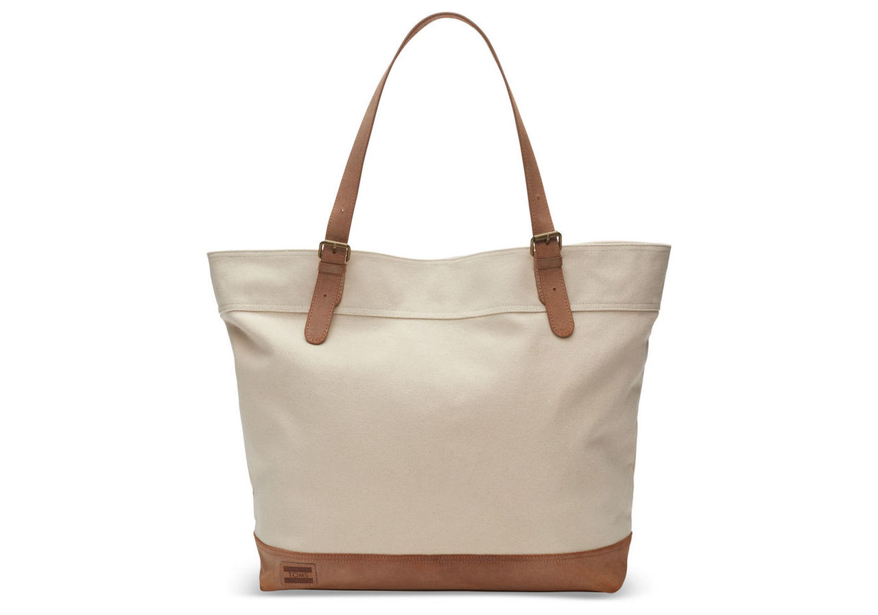 TOMS Orange Distressed Leather Islander Tote Bag