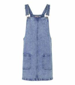 Blue Acid Wash Denim Pinafore Dress New Look